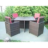 Garten Tischgruppe, Tisch und 4 Sessel mit Auflagen und Kissen, Poly-Rattan coffee