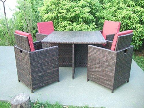 Garten-Tischgruppe-Tisch-und-4-Sessel-mit-Auflagen-und-Kissen-Poly-Rattan-coffee