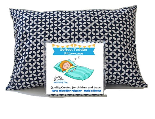 Discover Bargain TODDLER PILLOW CASE Blue and White Print Cover - Fits 13.5 X 19 to 14 X 20 Toddler ...