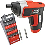 Black & Decker Compact Cordless Rechargable Screwdriver with LED Light Includes 18 Screw Bits