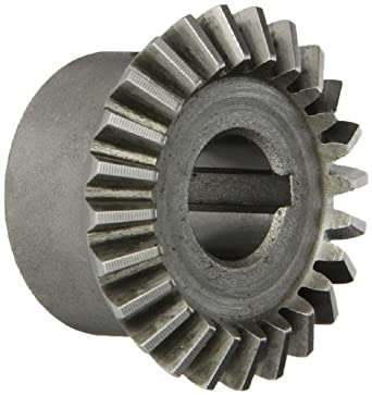 "Boston Gear HL146Y-G Bevel Gear, 1.5:1 Ratio, 0.500"" Bore, 16 Pitch, 24 Teeth, 20 Degree Pressure Angle, Straight Bevel, Keyway, Steel with Case-Hardened Teeth"