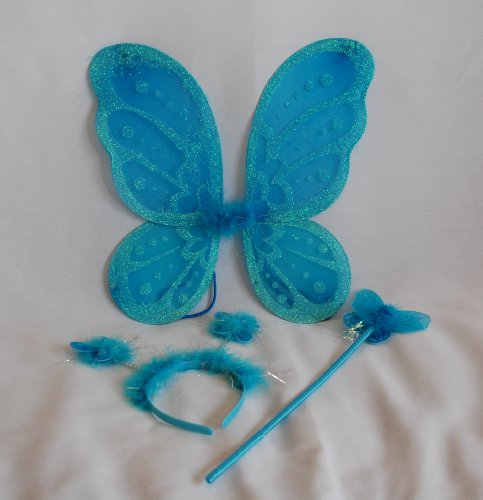 LolaSaturdays 3 Pc Set Turquoise Blue Fairy Princess Butterfly Angel