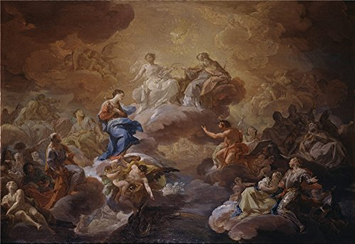 Oil Painting 'Giaquinto Corrado La Santisima Trinidad La Virgen Y Santos 1755 56 ' Printing On High Quality Polyster Canvas , 20 X 29 Inch / 51 X 74 Cm ,the Best Kitchen Decoration And Home Gallery Art And Gifts Is This High Quality Art Decorative Canvas Prints