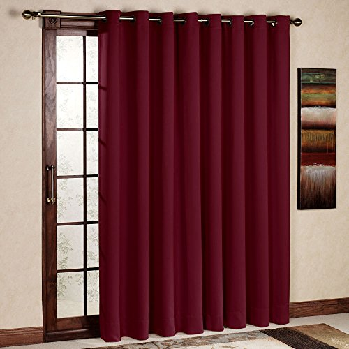 RHF Wide Thermal Blackout Patio door Curtain Panel, Sliding door curtains Antique Bronze Grommet Top 100W by 84L Inches-Burgundy
