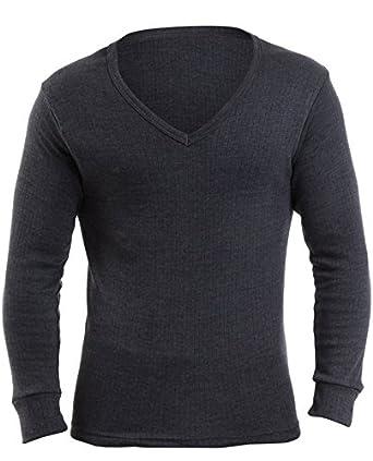 3 lots de T-Shirts couleurs jeans de dessous pour hommes thermolactiles à manches longues et encolure en V, Small