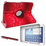 """NEW MATERIAL High Quality NON SCRATCHING ALLIGATOR PU LEATHER Cover Case with Microfiber Inner and Stylus Slot for SAMSUNG GALAXY TAB3 10.1"""" GT-P5200/GT-P5210, GT-P5210ZWYXAR with Built-in 360° Rotating Stand!!! Plus two Screen Protectors and matching color Stylus!!! (RED)"""