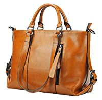 Buenocn Women Genuine Leather Large Handbag Office Tote Classic Shoulder Bag Shy031 (brown)