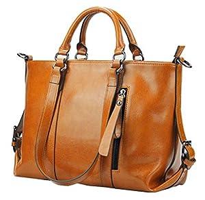 Buenocn Women Genuine Leather Large Handbag Office Tote Classic Shoulder Bag Shy031 (brown)