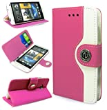 Magic Global Gadgets - New Stylish Pink Premium Retro Luxury PU Leather Wallet Book Card Slot Folio Diary Case Cover Pouch For HTC ONE M7 With Screen Guard & Stylus