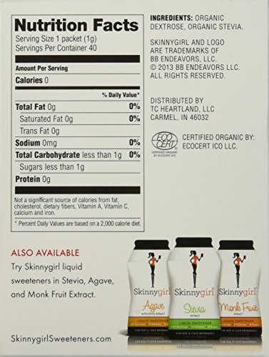 Skinnygirl Organic Stevia Extract Blend Sweetener -40 Packets Each (2 Pack)