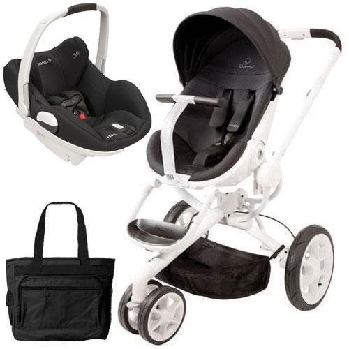 Quinny Cv078Bik Moodd Prezi White Travel System With Diaper Bag And Car Seat - Black Irony front-840031