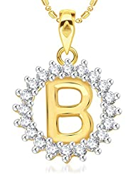 "VK Jewels Alphabet Initial Letter ""B"" Gold And Rhodium Plated Alloy Pendant With Chain For Men & Women- P1948G..."