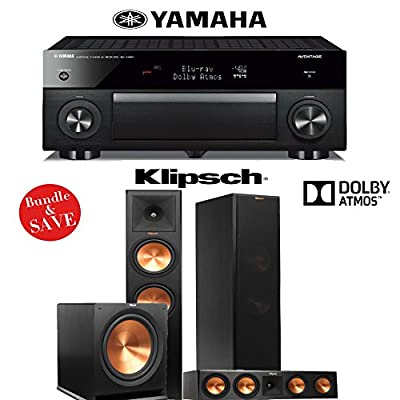Yamaha RX-A1060BL AVENTAGE 7.2-Channel Dolby Atmos Network A/V Receiver + Klipsch RP-280FA + Klipsch RP-450CA + Klipsch R-115SW - 3.1 Dolby Atmos Home Theater System from Klipsch