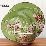 Waverly 16-Piece Tea Dance Celery Dinnerware Set & Floral Dinnerware Sets - The Shoppers Guide