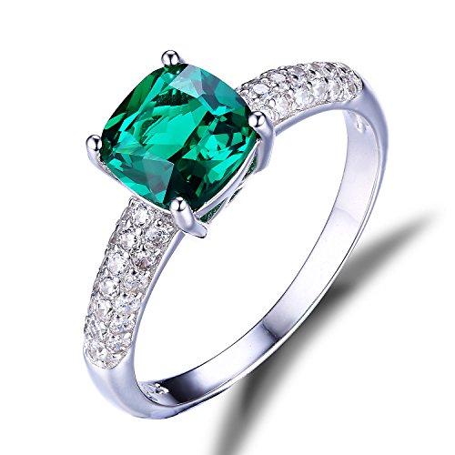 Jewelrypalace 1.82CT Bijoux Magnifique Elégant Bague en Argent Fin 925 en Emeraude et Zircon Cubique de Synthèse pour Femme Cadeau Fête des Mères Anniversaire