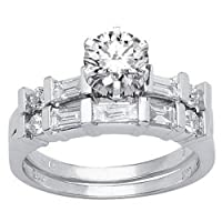 1.37 Carat 14K White Gold Round Diamond Wedding Set - Lesbian Wedding Ring