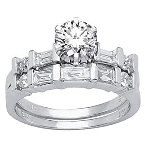 2.22 Carat Round Cut / Shape GIA Certified 14K White Gold Channel Set Baguette And Round Diamond Wedding Set ( E Color , VVS2 Clarity )
