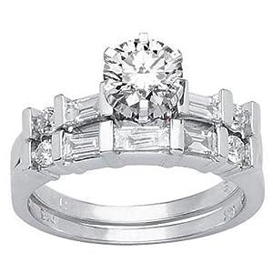 2.22 Carat Round Cut / Shape GIA Certified 14K White Gold Channel Set Baguette And Round Diamond Wedding Set ( E Color , VVS2 Clarity )