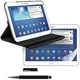3en1:FUNDA DE CUERO 360º Premium para Samsung Galaxy Tab 3 10.1 P5200 / P5210 / P5220 en Negro con una práctica función de soporte + Lámina, transparente + Stylus, Negro de kwmobile