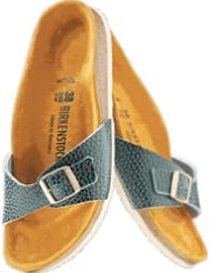 Birkenstock Sandals ''Madrid'' from Leather in Antik Bottle Green with a regular insole by Birkenstock