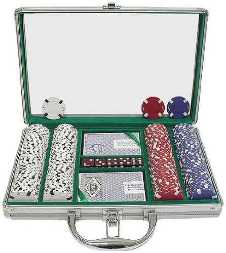 Trademark 200 Chip Texas Hold'em Set with clear Cover Aluminum Case (Silver)