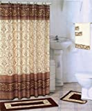 Coffee 18-piece Bathroom Set: 2-rugs/mats, 1-fabric Shower Curtain, 12-fabric Covered Rings, 3-pc. Decorative Towel Set
