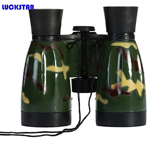 LUCKSTAR(TM) 6X30 Outdoor Plastic Folding Toy Binoculars High Powered Telescope Promotional Gift Toy Binoculars Party Favors for Kids-Army Green - 1