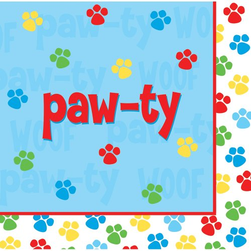 Review Creative Converting Paw-Ty Time Luncheon Napkin, Paw-Ty Design, 18-Count