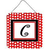 "Carolines Treasures Letter C Initial With Red Black Polka Dots Wall Or Door Hanging Prints, 6 X 6"", Multicolor"