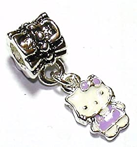 Lilac Kitty Dangle - Silver Plated Charm Bead - fits Pandora, Chamilia etc style Bracelets - SpangleBead