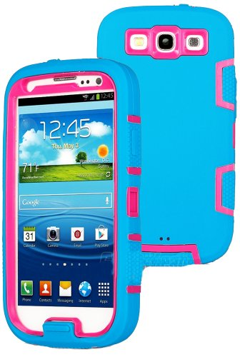 Mylife (Tm) Sky Blue And Hot Pink - Classic Robot Armor Series (3 Piece Neo Hybrid Flexi Case + Urban Body Armor Glove) Case For Samsung Galaxy S3 Gt-I9300 And Gt-I9305 Touch Phone (Thick Silicone Outer Gel + Tough Rubberized Internal Shell + Mylife (Tm)