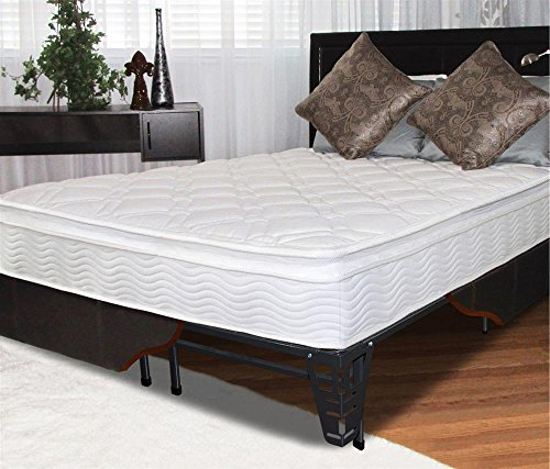 "10"" Pillow Top Spring Mattress And Steel Foundation Set Size: Queen"