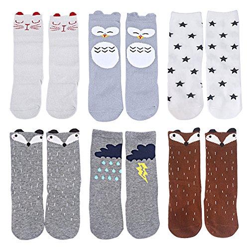OLABB Unisex Baby Socks Knee High Stockings Animal Theme 6 Packs Gift Set