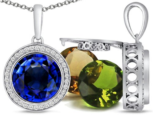Switch-It Gems Round 10mm Simulated Sapphire Pendant Necklace Total of 12 Simulated Stones Sterling Silver (Switch Gem Necklace compare prices)