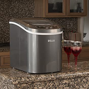 Della Portable Electric Ice Maker Machine Yield Up To 26 Pounds of Ice Daily - Silver