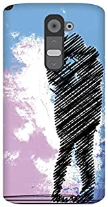 The Racoon Grip the lovebirds hard plastic printed back case / cover for LG G2