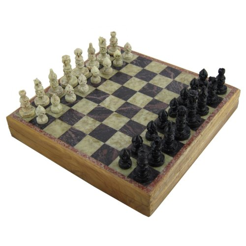 Rajasthan Stone Art Unique Chess Sets and Board Box, Small 25.4 X 25.4 cm