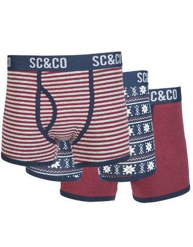 Soul Cal Deluxe Fairisle Boxer Trunks 3 Pack - Burgundy - Mens