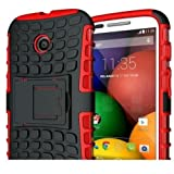 Motorola Moto E Case - Tough Rugged Dual-Layer case Cover with built in Kickstand for Motorola Moto E - RED
