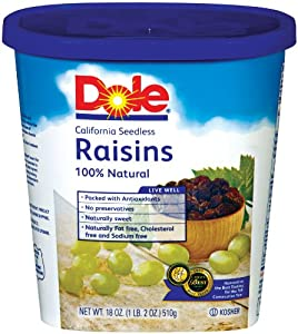 Dole Raisin Seedless, 18-Ounce Canisters (Pack of 4)