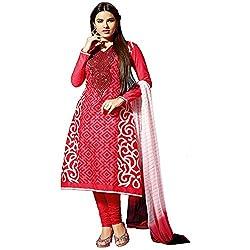 Fabtantra Women Cotton Dress Material (10084 _Red)