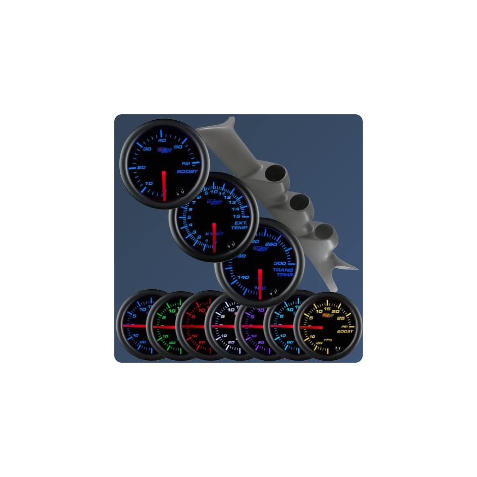 GlowShift 99 07 Ford Superduty Gray Gauge Package Black Face Boost, EGT & Trans Temp