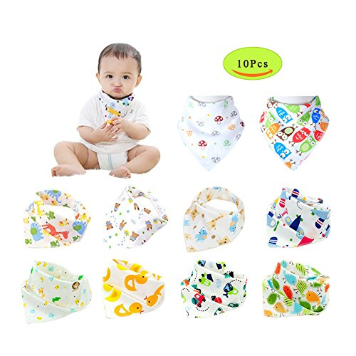 Baby Bandana Drool Bibs,Unisex 10 Pack Set with Adjustable 3 Snaps - Soft 100% Cotton Absorbent Feeder Bibs - Perfect Baby Burp Cloths Gift for Drooling,Feeding and Teething-Model B