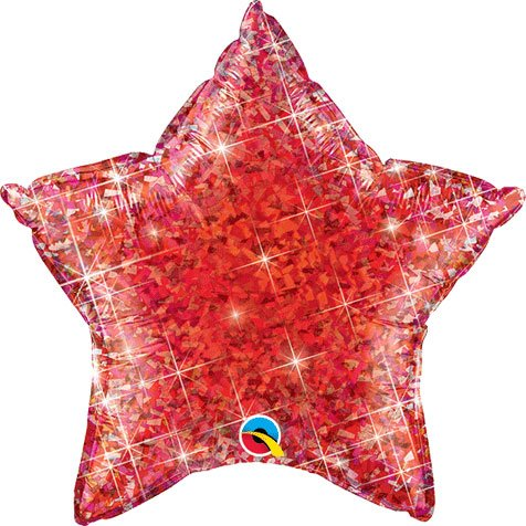 "Red Holographic Star Shaped 20"" Mylar Foil Balloon"