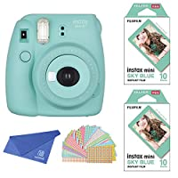 Fujifilm Instax Mini Instant Film 2-PACK & Camera SET , Sky Blue Frame Film ( 10 x 2 ) + Instax Mini 8+ ( Mint ) + Original Cleaning Cloth + Sticker for Mini 90 8 70 7s 50s 25 300 Camera SP-1 Printer
