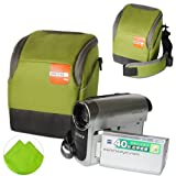 First2savvv high quality anti-shock green Nylon camcorder case bag for panasonic HC-V550CT with LENS Cleaning Cloth