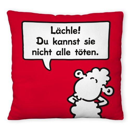 Sheepworld 42668 - Cuscino decorativo in peluche, motivo 'Lächle!' Du kannst sie nicht alle töten.'