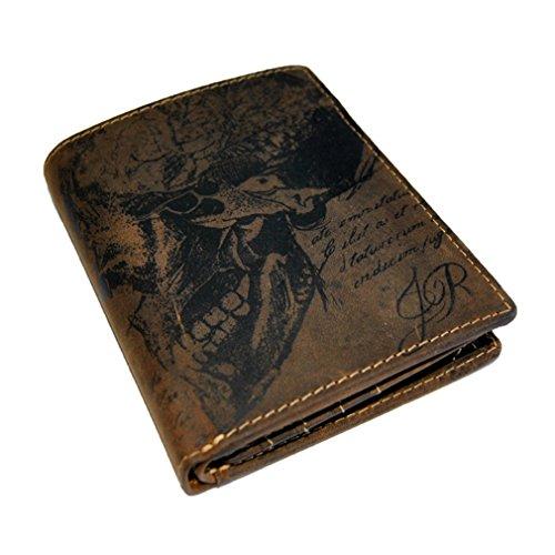 Jack The Ripper Wallet cranio-Portafoglio Uomo Bifold in pelle bovina di macinata Longtime Gothic