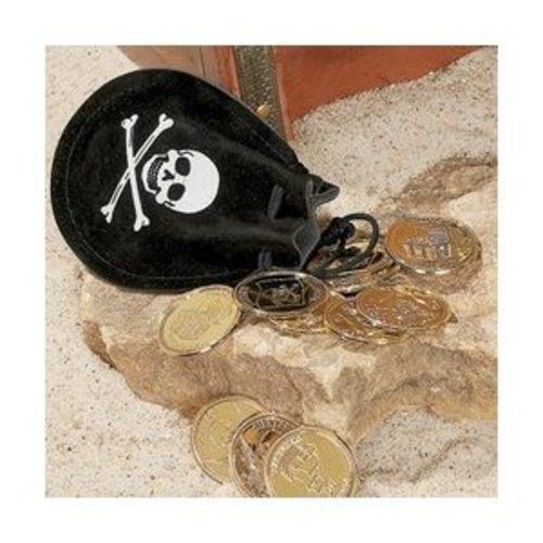 Fun Express Pirate Drawstring Bags with Gold Coins (12 Piece)