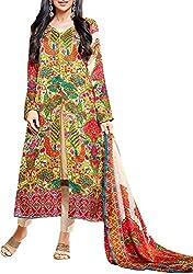 VIDA Women's Georgette Salwar Suit Material (Green)